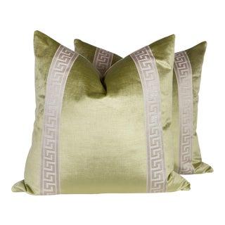 Transitional Citrine Velvet Greek Key Pillows - A Pair For Sale