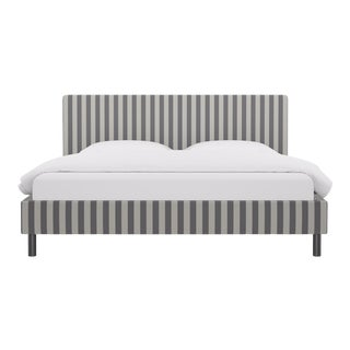 King Tailored Platform Bed in Charcoal Cabana Stripe For Sale