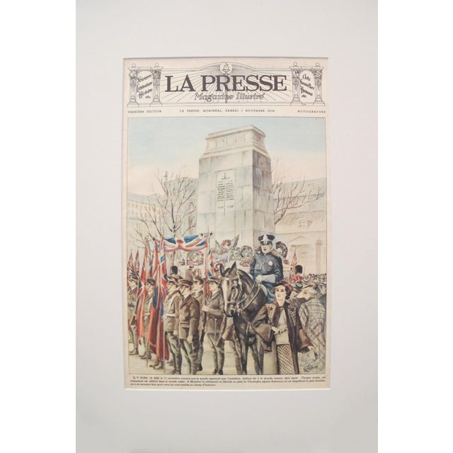 Vintage La Presse Newspaper Sheet, Montreal Dominion Square For Sale