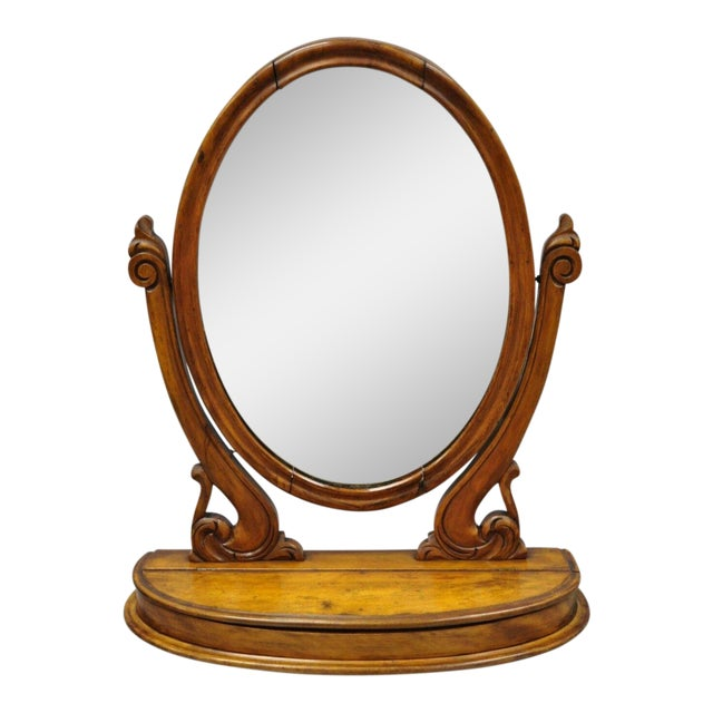 Antique Cheval Style Walnut Oval Mirror Lift Top Shaving Vanity Mirror For Sale