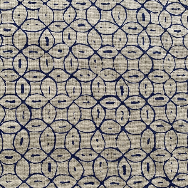 Asian Quadrille China Seas Navy Melong Batik Linen Fabric- 2 Yards For Sale - Image 3 of 7