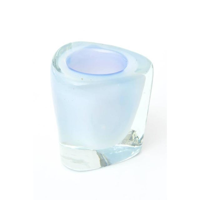 This beautiful and ethereal looking vintage Murano glass vessel is layered with opalescent Sommerso glass and bordered on...