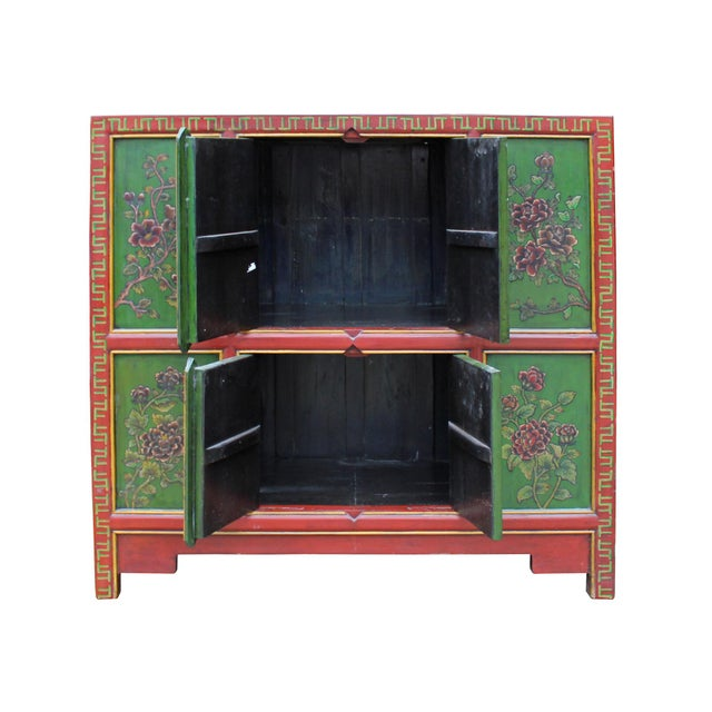 2000 - 2009 Chinese Red Green Floral Graphic Credenza Storage Cabinet For Sale - Image 5 of 9