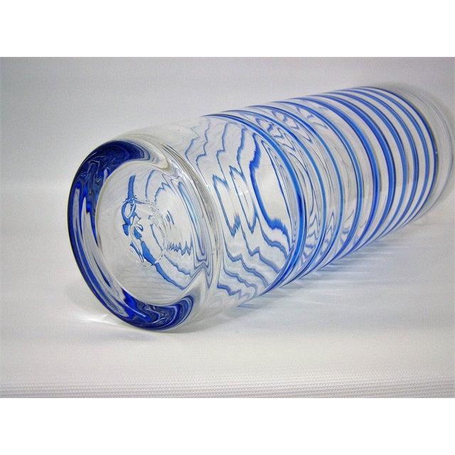 Monumental Transparent & Blue Glass Vintage Blenko Vase Large Mid-Century Modern MCM For Sale - Image 10 of 10