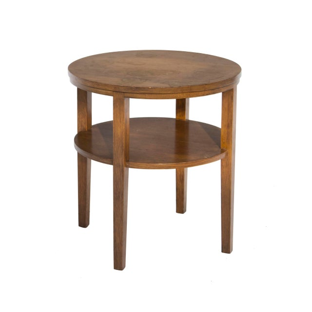 Wood Round Combed Oak End Tables by Grand Rapids Bookcase & Chair For Sale - Image 7 of 11