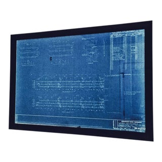 Framed Vintage Architectural Blueprint