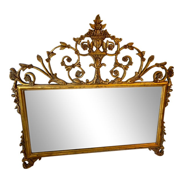 Vintage Chinoiserie Gold Giltwood Carved Mirror With Floral Design For Sale