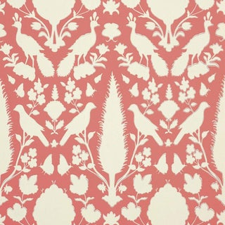 Schumacher Chenonceau Damask Wallpaper in Coral - 2-Roll Set (9 Yards)