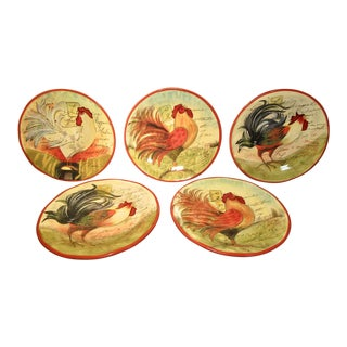 Susan Winget Hand Crafted Pottery Le Rooster Designs Certified International Plates - Set of 5 For Sale