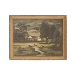 Sheep Grazing Antique Painting For Sale