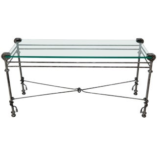 "Hammered Forged Metal Wrought Iron Base 3/4"" Glass Top Console Table Giacometti For Sale"