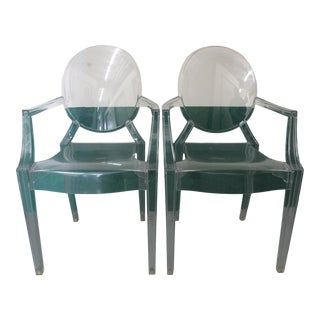 Pair Acrylic Ghost Chairs For Sale