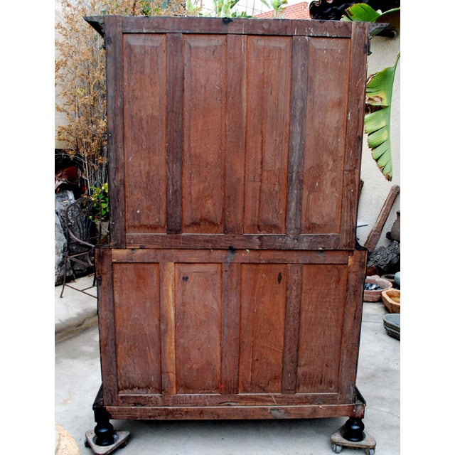 19th c. British Colonial Satin/Ebony 4 Door Cabinet with Carved Moldings - Image 8 of 8