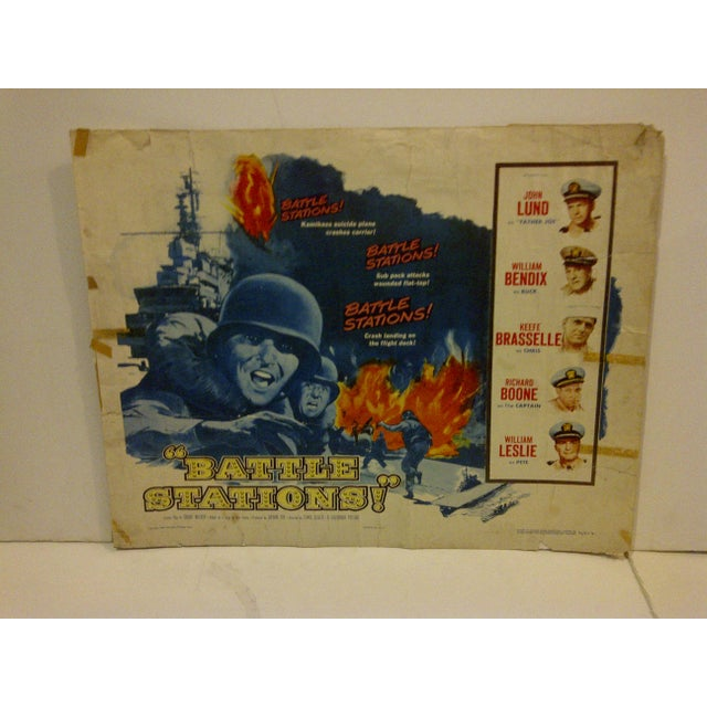 """Americana 1956 Vintage Movie Poster of """"Battle Stations"""" For Sale - Image 3 of 6"""