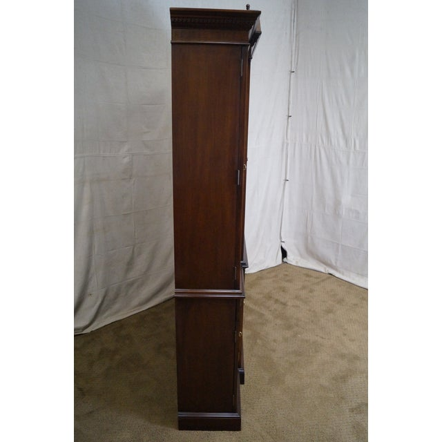 Federal Councill Craftsman Inlaid Flame Mahogany Breakfront Bookcase For Sale - Image 3 of 10