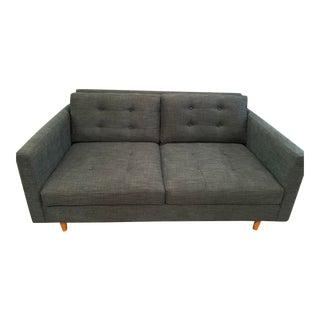 Mid-Century Teal Tufted Loveseat For Sale