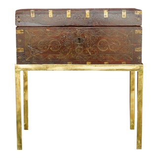 Brass Inlaid Cash Box on Stand For Sale