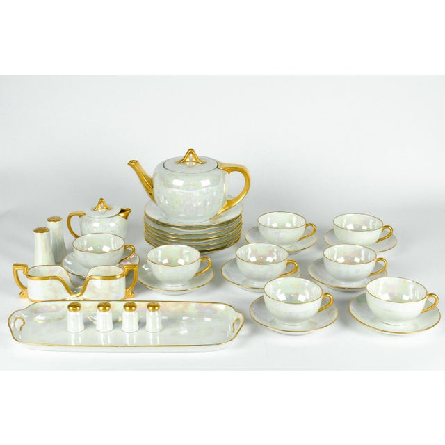 White 1900s German Vintage Lusterware Luncheon Set - Set of 31 For Sale - Image 8 of 8