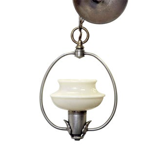 Deco Pendant Light With Original Glass Shade For Sale