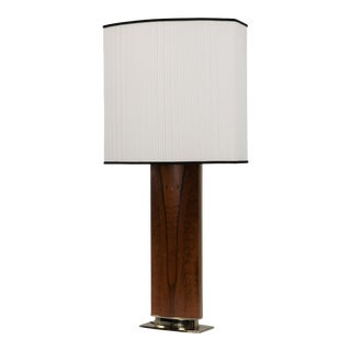 Mid Century Rosewood Brass Laurel Lamp Original Shade Hollywood Regency 1970s For Sale