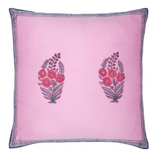 Roza Pillow Cover - Pink & Teal For Sale