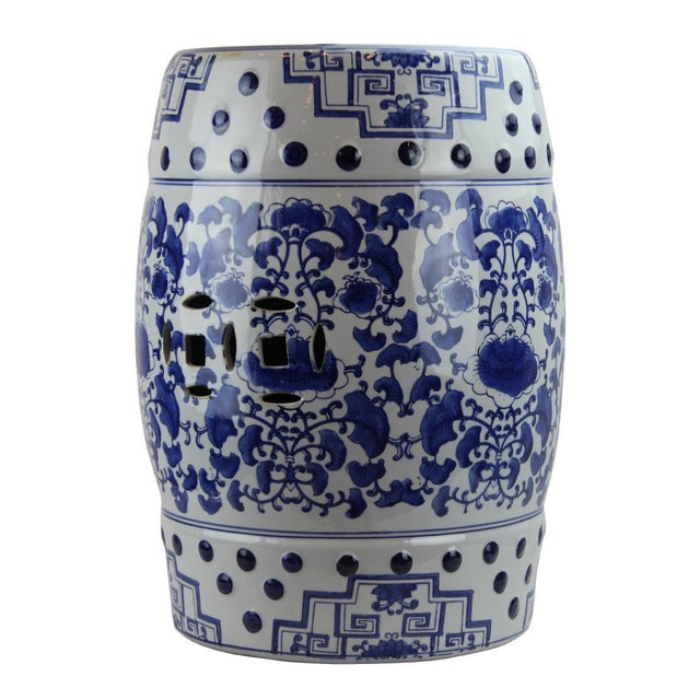 Asian Modern Pasargad DC Contemporary Floral Porcelain Garden Stool For Sale - Image 3 of 5