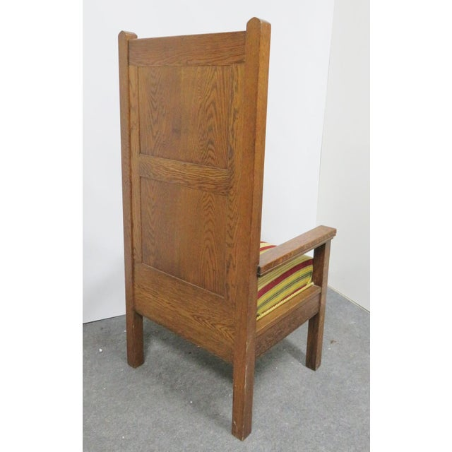 1900s Antique Gothic Carved Oak Throne Chair For Sale - Image 4 of 6