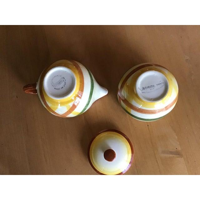 """Vernon Kilns 1950s Vernon Kilns Vernonware """"Homespun"""" Sugar Bowl and Creamer - a Pair For Sale - Image 4 of 7"""