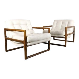 1970s Vintage Milo Baughman for Thayer Coggin Scoop Lounge Chairs- A Pair For Sale