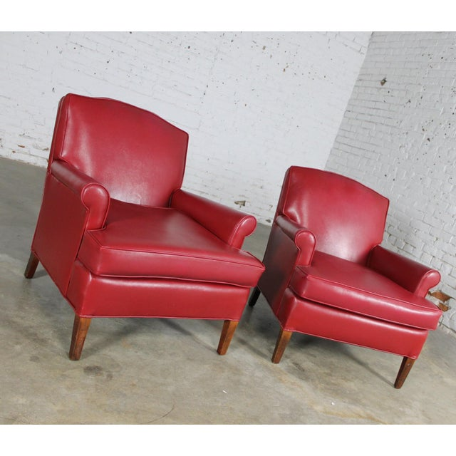 1940s vintage red vinyl club chairs a pair chairish