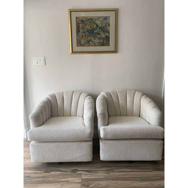 Vladimir Kagan Channel Back Club Chairs in the Manner of Kagan - a Pair For Sale - Image 4 of 13