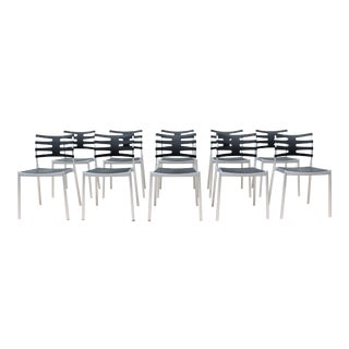 Danish Modern Kasper Salto for Fritz Hansen Ice Outdoor Dining Chairs - Set of 10 For Sale
