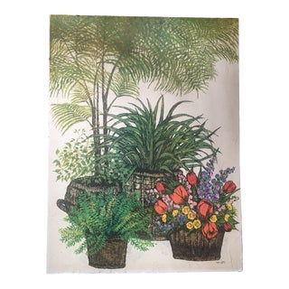 1970s Vintage Ida Pellei Lithograph From Field Flowers & Fern Series For Sale
