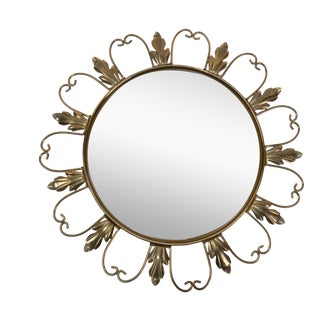 Neoclassical Signed 50s Brass Sunburst Mirror For Sale