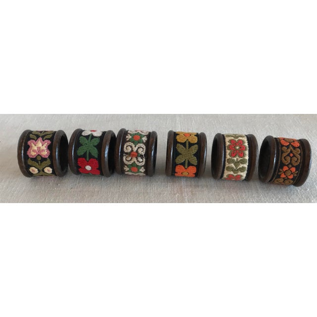 Wood Vintage Wood & Woven Napkin Rings - Set of 6 For Sale - Image 7 of 7