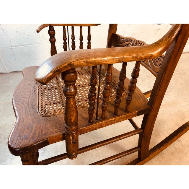 Quarter-Sawn Oak Hand Carved Rocking Chair For Sale - Image 11 of 13