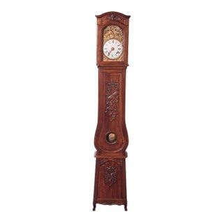 19th Century French Carved Walnut Grandfather Clock