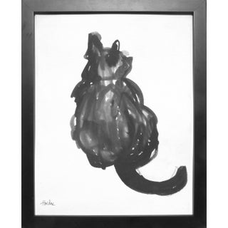 """Cat"" Contemporary Ink Drawing by Martha Holden, Framed For Sale"