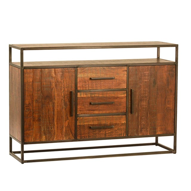 Contemporary Acacia Wood & Iron Sideboard W/Drawers For Sale - Image 3 of 3