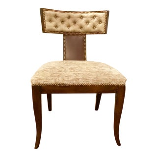 Kravet Athens Klismos Maple Chair With Chocolate Leather and Taupe Upholstery For Sale