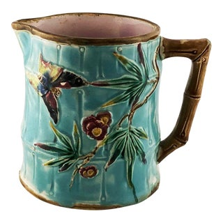 1880 English Majolica Bamboo Butterfly Insect Pitcher For Sale