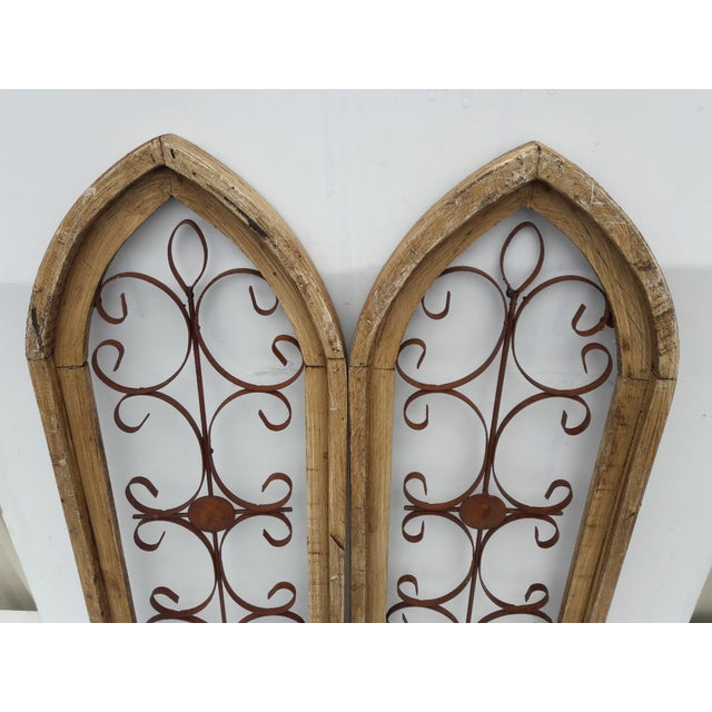 Rustic Country Farmhouse Cathedral Window Grilled Shabby Wall Garden Hangings For Sale In Philadelphia - Image 6 of 8