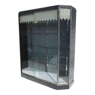 Art Deco Showcase With Lalique Glass Doors For Sale