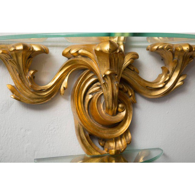 Pair of Gilt Rococo Style Brackets with Glass Shelves For Sale In West Palm - Image 6 of 8