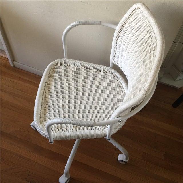 White Wicker Rolling Desk Chair Chairish
