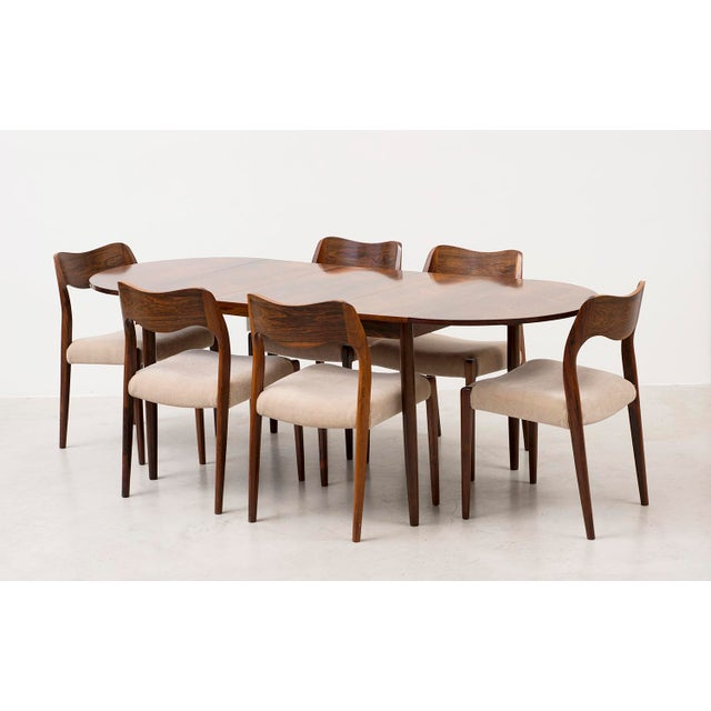 Set of Six Niels Moller Dining Chairs Model #71 in Rosewood and Velvet Mohair For Sale - Image 10 of 11