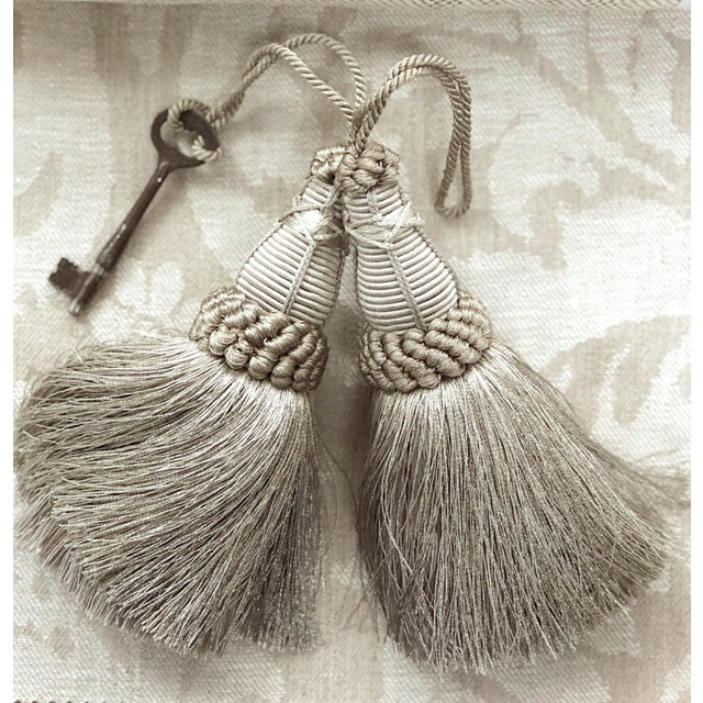 Textile Pair of Key Tassels in Pewter With Looped Ruche Trim For Sale - Image 7 of 11