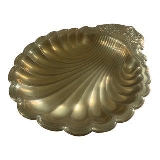 Mid-Century Brass Shell Platter For Sale