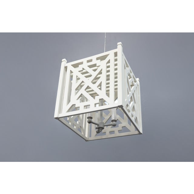 Modern Wood Geometric Brighton White Cube Lantern For Sale - Image 4 of 9