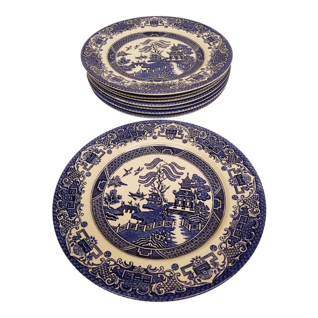 Vintage English Blue Willow Dinner Plates - Set of 8 For Sale